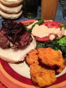 Stuffed Blue Cheese Burger with Sautéed  Onions and Sweet Potato Puffs
