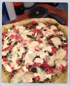 Pesto Pizza with Basil and Prosciutto