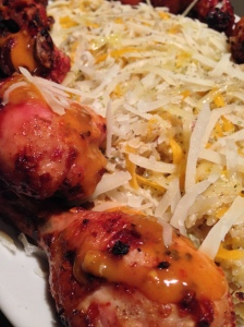 Hot Garlic Drumsticks with Bacon Orzo
