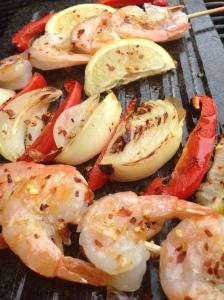 Stone grilled shrimp