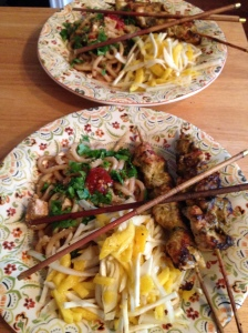 Turkey Satay and Mango/Celery Root Slaw